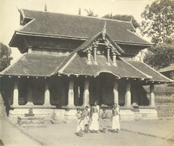 West view of the main entrance with the image of Kshetrapala, Thaligai Temple, Malabar District, Calicut Taluk